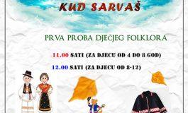 Prva proba dječjeg folklora u Sarvašu