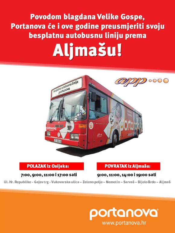 Photo of Besplatan autobus 15.8. OSIJEK-SARVAŠ- ALJMAŠ