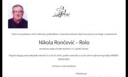 "POSLJEDNJI POZDRAV "" NIKOLA RONČEVIĆ-ROLO"""