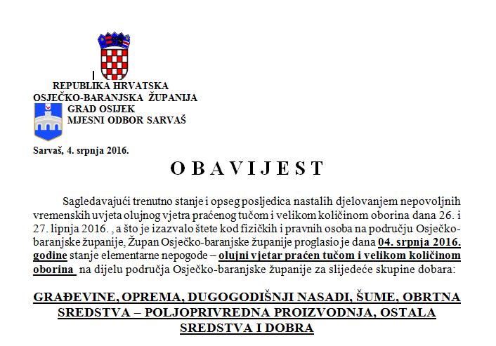 Photo of SARVAŠ:OBRASCI ZA PRIJAVU ELEMENTARNE NEPOGODE