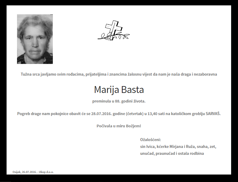 "Photo of POSLJEDNJI POZDRAV "" MARIJA BASTA"""