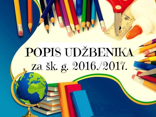 Photo of SARVAŠ:POPIS UDŽBENIKA ZA ŠKOLSKU GODINU 2016./2017.