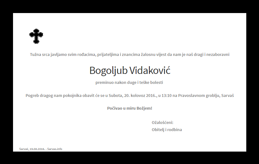 """Photo of POSLJEDNJI POZDRAV """" BOGOLJUB VIDAKOVIĆ """""""