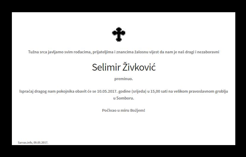 """Photo of POSLJEDNJI POZDRAV """"SELIMIR ŽIVKOVIĆ """""""