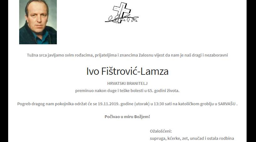 """POSLJEDNJI POZDRAV """"IVO FIŠTROVIĆ - LAMZA """""""